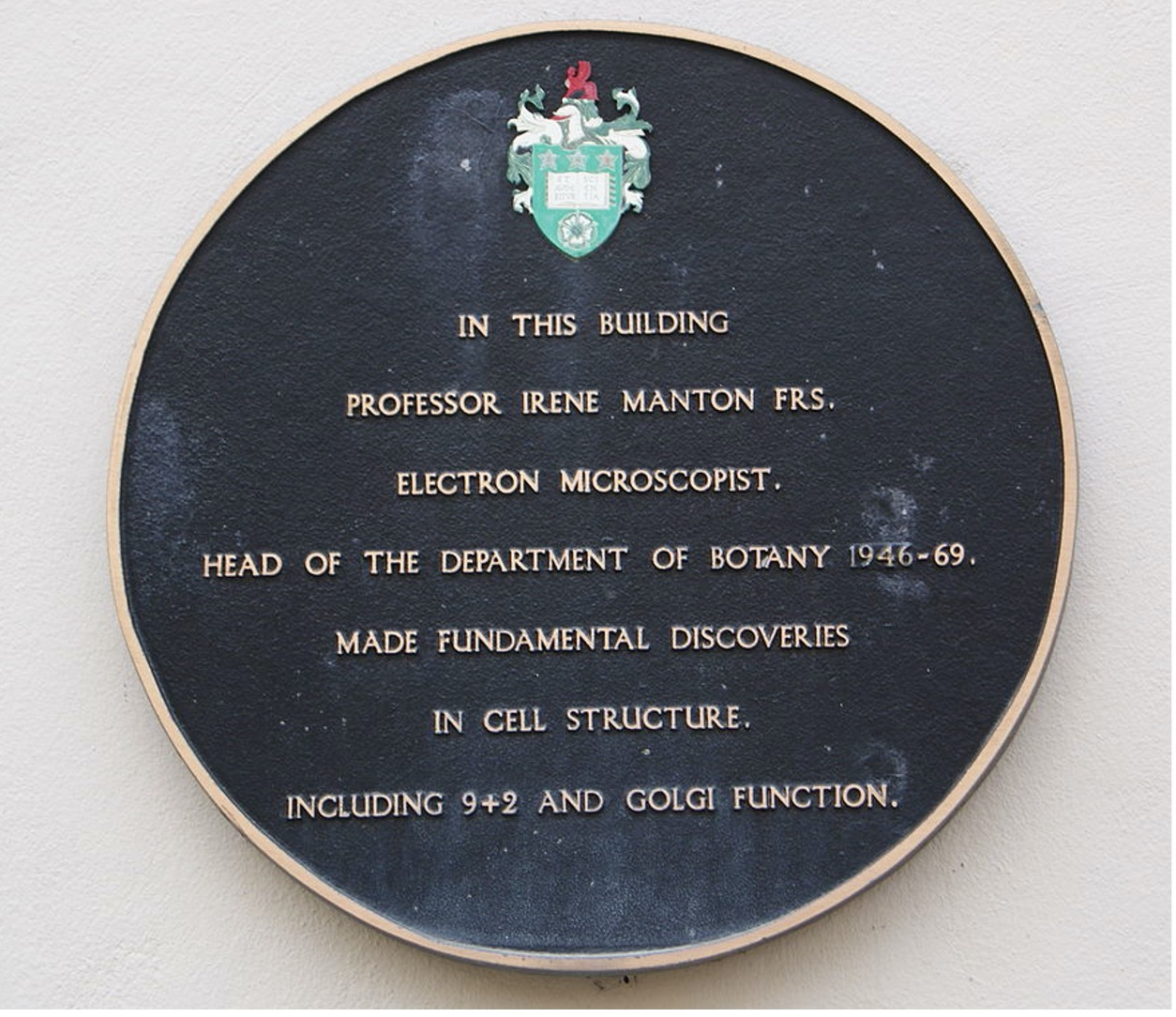 Plaque Irene Manton University of Leeds