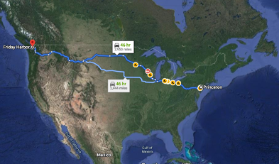 Map of Shimomura's travels across the US